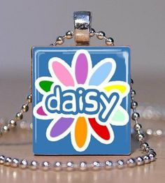 I just got these for my Daisy Troop! They are so adorable!!! Scrabble Pendant  Daisy Scout Blue by peachypendants on Etsy, $6.00