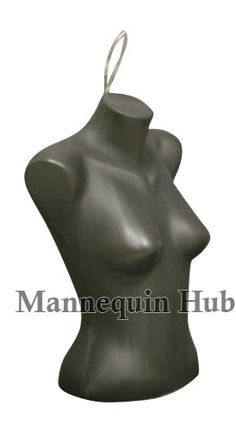 New Female Torso Dress Form Mannequin Display Bust Black Color With Hanging Loop