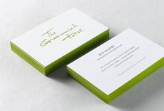 creative business cards, card designs, green edged business card, business card design, busi card, greenwich hotel