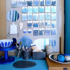 Summer blues Textural Blue Stoneware: Elephant Ceramics + west elm