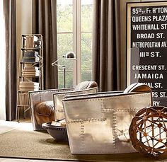 decor, living rooms, restoration hardware, man cave, aviators, restor hardwar, chairs, restorations, design