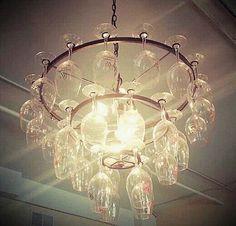 Love this wine glass chandelier!