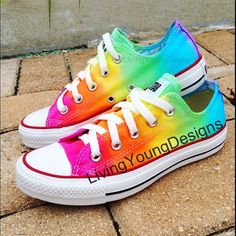 TIE DYE CONVERSE Rainbow Custom Tie Dye Converse on Etsy, $85.00