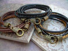 Triple Wrap Leather Bracelet with Antique by UrbanSurvivalGearUSA, $24.99