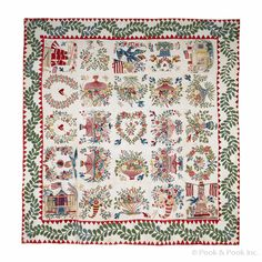 """Outstanding Baltimore album quilt, mid 19th c., with twenty-five appliqué and trapunto squares depicting the Capital of the United States, an American sailing ship, a house, a monument with American flags, elaborate baskets of flowers, cornucopia and garlands, 101 1/2"""" x 101 1/2""""."""