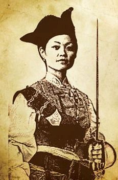 """Artist's rendering of Ching Shih (or Zheng Yi Sao) """"A brilliant Cantonese pirate, she commanded 1800 ships and more than 80,000 pirates — men, women, and even children. She challenged the world superpower empires at the time such as the British, Portuguese and the Qing dynasty. Undefeated, she would become one of China and Asia's strongest female pirates...She was also one of the few pirate captains to retire from piracy."""""""