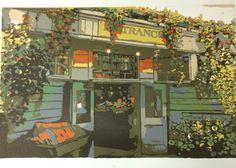 Pike Place Market original linocut relief print by LisaVanMeter,