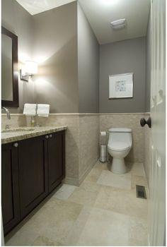 Warm brown and cool grey bathroom