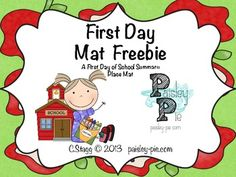 FREEBIE- First Day of School Memory Placemat