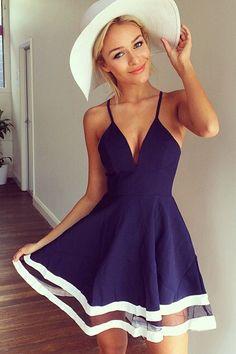 Cheap Sexy V Neck Spaghetti Strap Sleeveless Organza Patchwork Blue A Line Mini Dress on Luulla