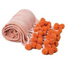 Orange Herringbone PomPom Throw