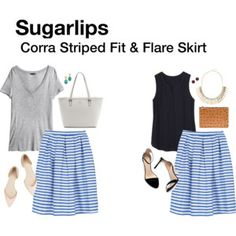 Sugarlips Corra Striped Fit & Flare Skirt