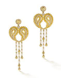 Boodles 'Paisley' Yellow & White Diamond Earrings