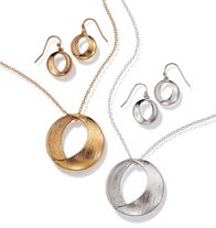 """Evelyn Gift Set. Brushed-metal look. 1 1/4"""" L pendant on a 16 1/2"""" L chain with 3 1/2"""" extender. Pierced earrings, 1/2"""" L.  GOOD TO KNOW All of Avon's jewelry is nickel-free for those with sensitive skin & allergies to nickel."""