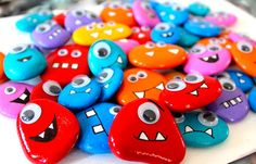 Pebble Monsters. Great for using descriptors (i.e. the red monster with 3 square teeth), feelings (i.e. mad monster vs. happy monster), color and number concepts, and fun craft activity!