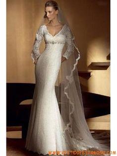 v-pescoço mangas 3/4 do vestido de noiva de renda