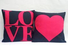 Pink Love Appliqued EcoFelt Pillow Cover