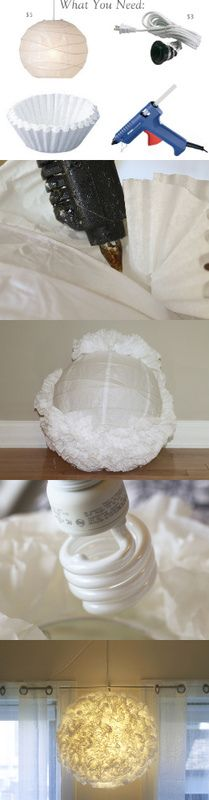 Really great lamp made from coffee filters and an Ikea light~