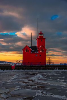Michigan Big Red Lighthouse, just one of more than 100 Michigan lighthouses!