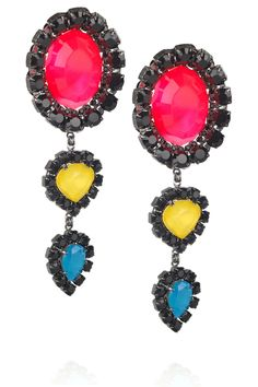 Erickson Beamon Neon lucite and diamanté crystal earrings-LOVELY