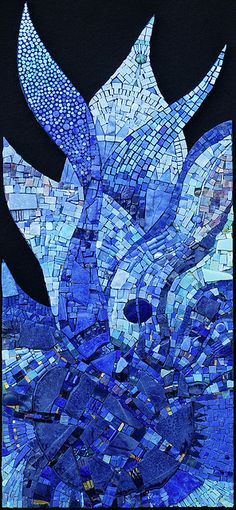 Out of the Blue by icmosaics: glass, smalti, glass rods, colored gold #mosaic