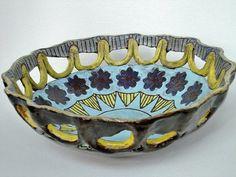 hand painted ceramic pottery sun bowl by VickieDumas on Etsy, $50.00