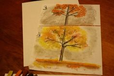 Tree Silhouette - capture the colors of fall in chalk pastels!