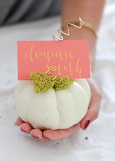 fall place card holders - white pumpkins