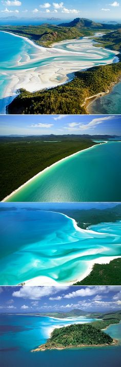 Four different views of Whitehaven Beach.