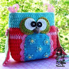 craft, inspiration, crochet bags, crochet owls, appliques, owl purs, crochet patterns, purses, purse patterns