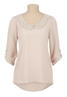 High-low Chiffon Beaded Collar Blouse (original price, $29) available at #Maurices