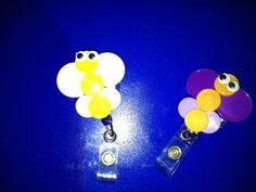 Butterfly badge holder from med vial caps... badge holders, badg holder