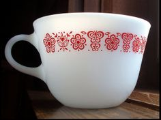 Vintage Pyrex Red Butterfly Gold Coffee Cup