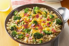 Quinoa with Broccoli, Cheese & Bacon Recipe - Kraft Recipes (no bacon for me)