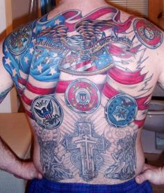 9/11 Memorial Tattoo on back.