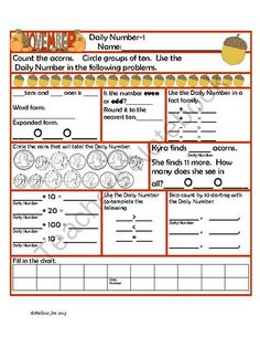 Daily Number November Theme from Melissa Joe on TeachersNotebook.com (29 pages)  - Daily Number Perfect for morning work, homework or center work! Students count November themed objects and use that number to reinforce all the skills you use in your calendar activities.  Problems include:  Fact families Expanded Form Money Even/Odd Roun