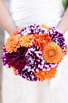 white flowers, color combos, wedding bouquets, purple flowers, orange weddings
