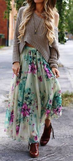 Cute bohemian outfit with the pastel green floral skirt, brown booties, and the off the shoulder cropped sweater.