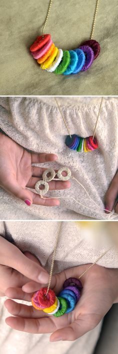 DIY: Make Wrapped Washer Necklaces - With an easy version for Kids!  |  Design Mom