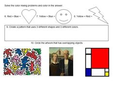 K-5 Visual Art Assessment from I'm Art Smart use as a test or handouts