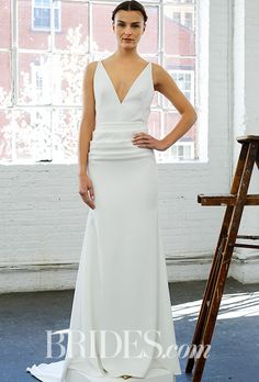 "Lela Rose Wedding Dress - Spring 2017.  ""The Cafe"" deep v-neck draped crepe wedding dress"