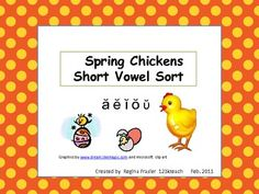 $2.  Students will sort eggs with pictures of short vowel words and match to the chick with the appropriate short vowel sound. A k lined recording sheet and answer key is included. kindergarten teach, eggs, educ find, keys, fun educ, pocket charts, kids, cards, teach idea