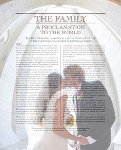 Great wedding gift! the Family Proclamation over your wedding or family picture- customized