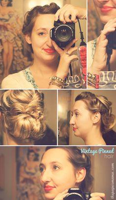 vintage pinned hair tutorial