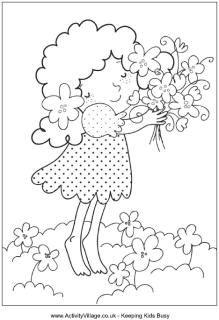 Lente boeket kleurplaat, klein meisje met een bos bloemen