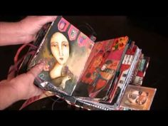 Collage Glue Book - YouTube. She used a child's board book, painted w/acrylic and glued lots of pictures and some tags,