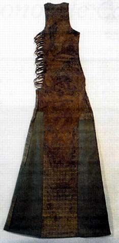 "Linen tunic with embroidered ""jewelry"" from grave of Queen Bathildis. (d. 680; buried at Chelles Abbey)        Leggings from the 8t..."