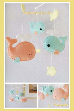 Baby Mobile Whale Nursery Mobile - Coral Turquoise Whale family and yellow fish on Etsy, $82.00