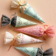 party favors, paper cones, wedding favors, gift ideas, wedding crafts, shower favors, little gifts, craft ideas, wedding gifts