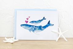 Baby Whale Card.  Watercolor by Kristy Asaro